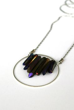 Titanium Flame Aura Quartz necklace by CATBLACKJEWELRY on Etsy