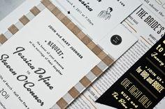 Black White Gold Retro Wedding Invitations4 500x332 Jessica + Stevens Retro Black and White Wedding Invitations