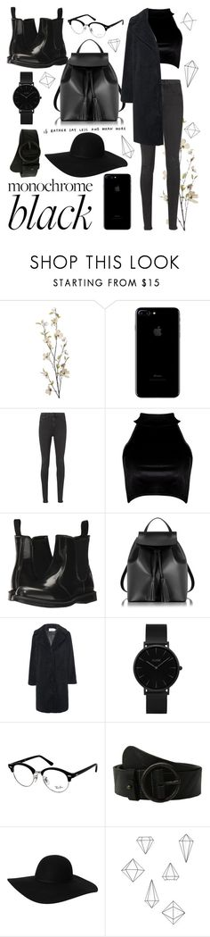"""All Black"" by jess09xo ❤ liked on Polyvore featuring Pier 1 Imports, rag & bone, Boohoo, Dr. Martens, Le Parmentier, Stand, CLUSE, Ray-Ban, Amsterdam Heritage and Monki"