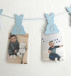 Completely your Little Bunnys special 1st birthday celebration with this adorable light blue and gold bunny photo banner! This beautiful photo banner can be made to match your color scheme and is sure to add the perfect touch to your little ones big day! Each bunny comes with a