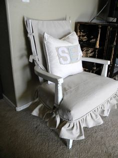 slip covered  chair