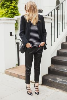 Black stripes Black Stripes, Breton Stripes, Stripes Fashion, Striped Tops, Camille Charriere, Minimalist Fashion, Minimalist Shoes, Black White, White Chic