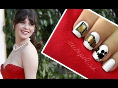A beautiful manicure inspired by the one that Zooey Deschanel wore on the red carpet at the Golden Globes 2013.