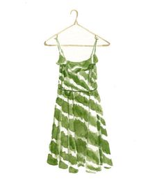 Dress #24: Green Striped Dress from The Loft. A Dress a Day daily painting project. www.marycatherinestarr.com
