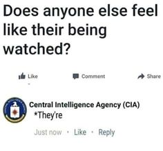Funny Does Anyone Else Feel Like Their Being Watched? CIA