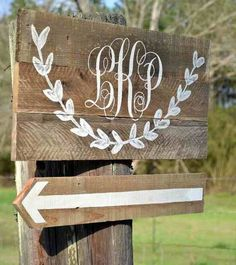 Wedding signs - nice wreath addition in a folk artsy way.  With chevron tho