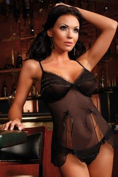 (Click to order - $42.00) Bassaya Leticia Sheer Black Babydoll and String Set From Bassaya