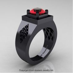 Mens Modern Classic 14K Black Gold 2.0 Ct Ruby Black Diamond Designer Wedding Ring R338M-14KBGBDR - Perspective