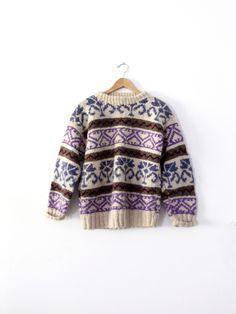 vintage chunky knit fair isle sweater