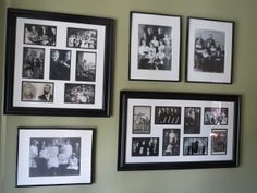 Five Kids in Five Years: Ancestor Wall Gallery Wall Frames, Frames On Wall, Photo Wall Collage, Picture Wall, Family Pictures On Wall, Family Crafts, Photo Displays, Wall Ideas, Family History