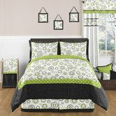 Found it at Wayfair - Lime and Black Spirodot Bedding Collection