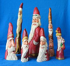Hand Carved Cypress Knee Santas