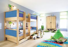 Matti Beech Bunk Bed Set with Blue Inserts and Trim