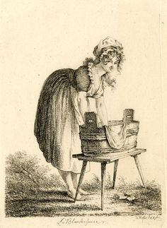 Washerwoman holding a white sheet into a bucket, looking at the viewer. Etching
