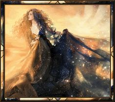 A beautiful witch in a starry gown.