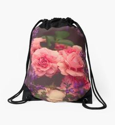 Cottage Garden Roses Drawstring Bag