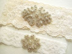 GARTER SET - Light Ivory Lace - Double Rhinestone Clusters on Lovely Light Ivory Bridal Lace and Toss Garter | Tailored