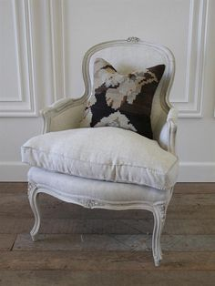 Antique Country French Painted Bergere Chair in the Louis XV Style from Full Bloom Cottage