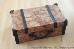suitcase - you will need: shoe box, wrapping paper or wallpaper, glue, black gum