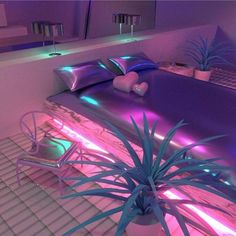 """Jess Audrey is a modeler and music producer within the vaporwave A E S T H E T I C and genre. She has recently been exploring architecture and decor in a series titled simply """"Neon Room."""" Her art is available to purchase through NeonTalk. Violet Aesthetic, Aesthetic Bedroom, Purple Aesthetic, Neon Bedroom, Bedroom Decor, Bedroom Ideas, Dream Rooms, Dream Bedroom, My New Room"""