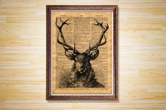 Animal poster Stag dictionary page Elk by CrowDictionaryPrints