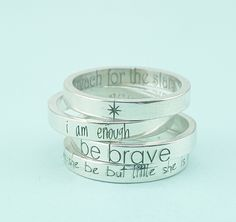 Inspirational Jewelry  - Personalized Jewelry - Though She Be But Little She is Fierce - Silver Stacking Rings - Personalized Ring by emilyjdesign on Etsy https://www.etsy.com/listing/462244833/inspirational-jewelry-personalized