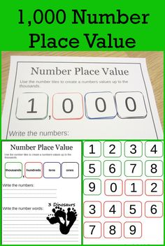 3 Dinosaurs has a FREE set of 1000 Number Place Value Worksheets. Included in this set: 2 Sheets for each types of writing lines or guide line
