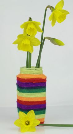 Make a quick and easy pretty vase; great for Spring flowers or as a gift for Mother's Day or a desk tidy for Father's Day. It's a recycled craft too which is always an added bonus :-)