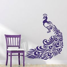 Peacock Peafowl Bird Wall Decal Sticker Vinyl Decor Wall Art Mural