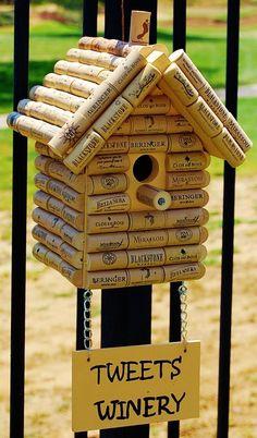 "DIY wine cork birdhouse titled ""Tweets Winery"":"