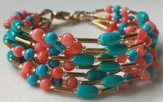 Bougie Boho Pink Bamboo Coral Turquoise and Glass Multi Strand Bracelet by BougieBoho, $40.00...#handmade #beaded #jewelry