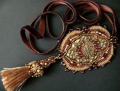 Bead embroidered Pendant necklace silk tassel velvet brown ribbon Beadwork handmade Ooak seed beaded jewelry