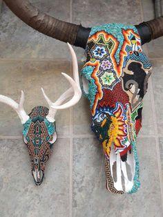 Deer Skull Decor, Cow Skull Art, Deer Skulls, Animal Skulls, Longhorn Skulls, Seed Bead Art, Skull Painting, Beaded Skull, Beaded Animals