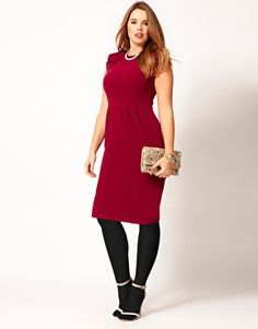 ASOS CURVE Textured Tulip Dress With Ruffle Shoulders... What an adorable holiday dress!
