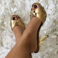 Shutz Gold And Wood Heels