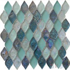 glass mosaic tile Marble Mosaic, Glass Mosaic Tiles, Stone Mosaic, Bathroom Tile Designs, Bathroom Ideas, Stone Slab, Paint Colors, Turquoise Bracelet, Lanterns