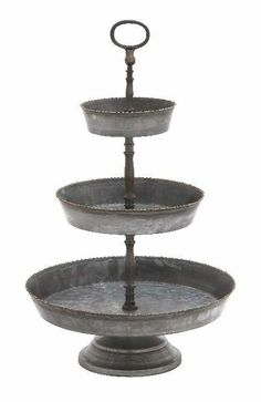 3 Tiered Metal Galvanized Serving Tray Fruit Stand Cupcake Holder Centerpice