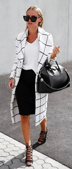 White T-Shirt, Black Pencil Skirt, Graphic Check Coat, and Lace-Up Shoes For a  Perfect Matching  Office Style In Black And White