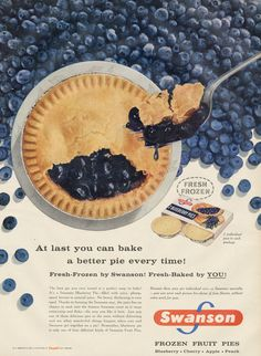 1957 Swanson Blueberry Pie Ad 1950s Frozen Food by AdVintageCom