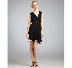 Gucci black silk v-neck belted dress