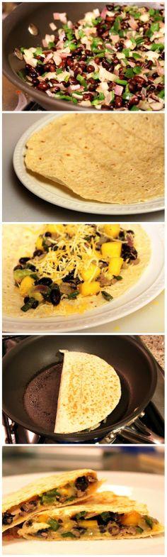Poblano, Mango, Avocado and Black Bean Quesadillas.Sub the cheese with nondairy and use gf tortillas