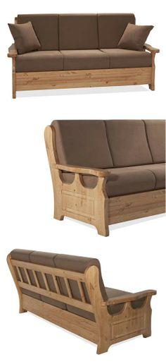 Divano rustico in legno di pino massiccio di Svezia. Proposto con colore di finitura noce e stoffa marrone ALYA 20. www.arredamentirustici.it