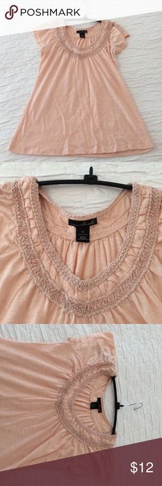 Peach Top with Unique Neckline Peach short sleeve top, decorative neckline that goes all the way around, flares out for a more comfortable fit, size medium, 100% cotton Tops