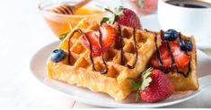 Waffle Bar, Waffle Sandwich, Waffle Toppings, Blueberry Syrup, Strawberry Blueberry, Buttermilk Waffles, Honey Chocolate, Breakfast Dessert, Afternoon Snacks