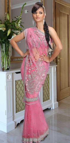 Pink Net Saree 12751 With Unstitched Blouse