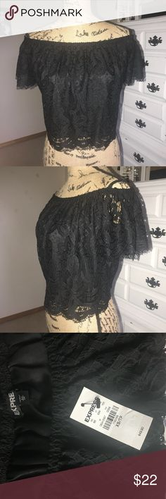 EXPRESS Embroidered Crop Stretch band keeps top secure on your shoulders while the rest hangs loosely over high waisted pants or a fitted skirt. Works with shorts and cowgirl boots too! Never worn! Size XS but will easily fit up to a medium with extra space! Express Tops Crop Tops