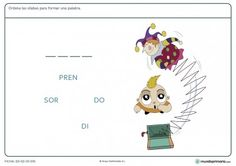Ficha de aprender a ordenar sílabas para niños de primaria