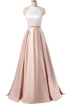 Simpe Two Piece Long Prom Dress Evening Dress