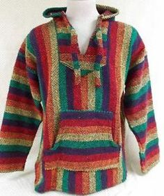 Baja Hoodie Rainbow Large Surfer Poncho Mens Pullover Sweater Cali Surfer