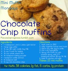 Chocolate Chip Mini Muffins 38 calories, 1g fat, 6 carbs, 1g protein These are undoubtedly the best mini muffin recipe yet and possibly my favorite recipe ever! They came out really delicious, filled with chocolate chips and the whole wheat flour makes them extra hearty. Try making a double batch (or mix and match different mini muffin flavors) and freezing them 4-5 at a time in Ziploc bags for perfect on the go snack packs. Go make them, go go! :) For more mini muffin recipes go here…